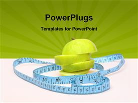 PowerPoint template displaying healthy sliced green apple