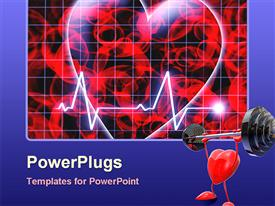 PowerPoint template displaying heart beat on monitor on dark background with heart weight lifting
