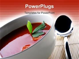 PowerPoint template displaying hot Tomato soup in the background.