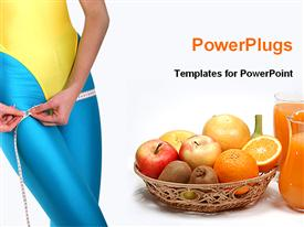 PowerPoint template displaying lady doing exercise for fitness
