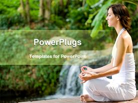 PowerPoint template displaying woman in white clothes doing yoga, woman sitting in yoga position, meditation, forest, trees