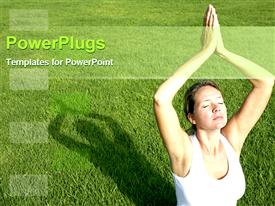 PowerPoint template displaying lady doing yoga in the outdoor