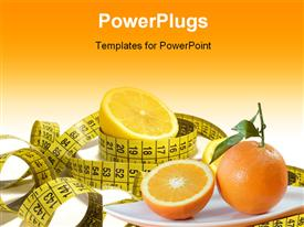 PowerPoint template displaying diet depiction measuring tape sliced orange fruits