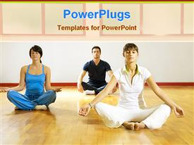 PowerPoint template displaying man and women doing yoga