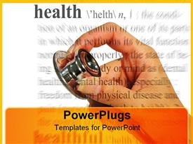 PowerPoint template displaying hand holding stethoscope, health definition, medicine, check-up, doctor, nurse, medical