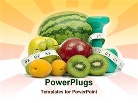 PowerPoint template displaying weight loss theme with fruit, hand weight dumbbells and measuring type, dieting, fitness, exercise, nutrition