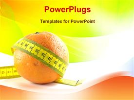 PowerPoint template displaying orange showing fitness