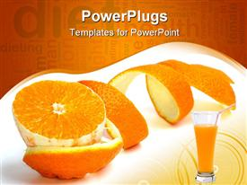 PowerPoint template displaying orange slice and spiral-shaped peel next to orange juice glass
