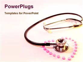 PowerPoint template displaying pills arranged in a heart shape surround a stethoscope