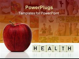 PowerPoint template displaying close up of red apple and word health formed on cubes, collage of multiple depictions of fruits and people performing yoga exercises women eating and drinking healthy diet