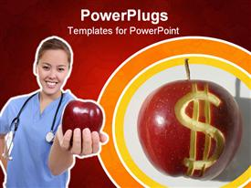 PowerPoint template displaying nurse with stethoscope hanged across neck holds red apple