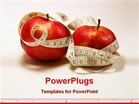 PowerPoint template displaying shot of apple with some tailor meter around the apple