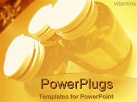 PowerPoint template displaying small medicine jars in yellow in the background.