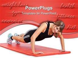Sporty young woman practices press-ups on a red rubber mat  - endurance ppt template
