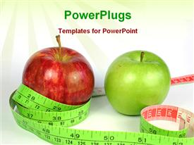 PowerPoint template displaying measuring tape with a red and a  green apple