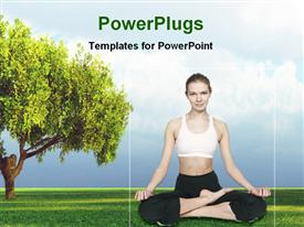 PowerPoint template displaying woman doing yoga exercise under nature
