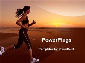 PowerPoint template displaying woman in white canvas running on sea beach with sunset overhead