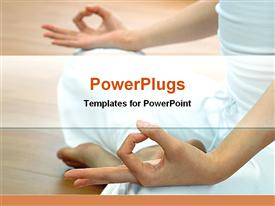 PowerPoint template displaying woman doing yoga only showing legs and hands white background