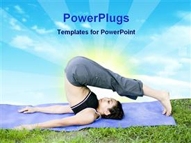 PowerPoint template displaying young woman doing yoga at the park