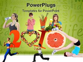 PowerPoint template displaying women depicting different forms of workouts