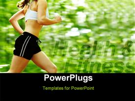 Beautiful young woman runner in a green forest  endurance powerpoint template
