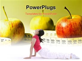 PowerPoint template displaying three apples with a measuring tape around then and a lady performing yoga
