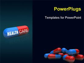 PowerPoint template displaying close-up of some pills with one featuring the words Health Care