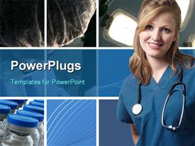 PowerPoint template displaying a pretty smiling lady wearing a medical out fit and stethoscope