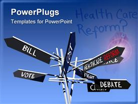 Conceptual healthcare reform sign post with different directions over blue sky powerpoint template