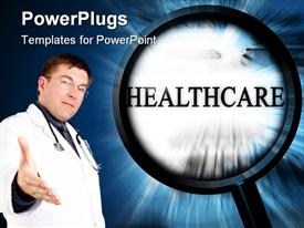 PowerPoint template displaying a beautiful depiction of healthcare related material along with a doctor