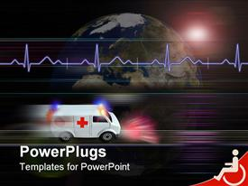 PowerPoint template displaying healthcare medical theme with speeding ambulance and heartbeat line over half of globe, planet earth and white ambulance with red cross