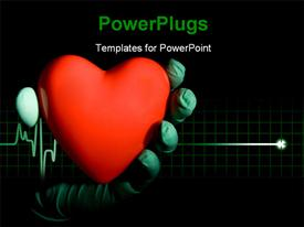PowerPoint template displaying hand in surgical gloves holding red heart symbol over cardiogram pulse