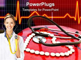 PowerPoint template displaying doctor with stethoscope in front of white pills arranged in heart shape