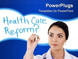 PowerPoint template displaying lady doctor writing health care reform with a blue and white background