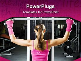 PowerPoint template displaying health club: girl in a gym doing weight lifting