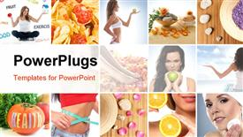 Beautiful collage about healthy eating and healthcare powerpoint template