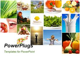 PowerPoint template displaying collage of fresh fruits, vegetables, milk depicting heathy and fit lifestyle