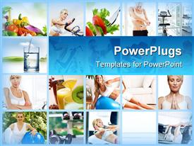 PowerPoint template displaying lots of tiles showing different women doing different exercises
