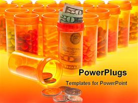 PowerPoint template displaying high Cost of Health Care. Pills US Currency and Coins in Pill Bottles