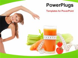 PowerPoint template displaying fitness Girl on white background. High quality depiction