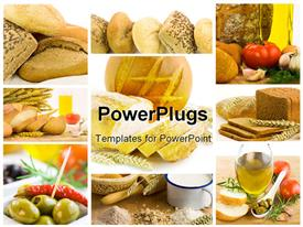 PowerPoint template displaying collage of healthy food, bread, tea and milk