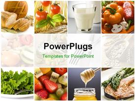 PowerPoint template displaying food collage with fresh fruits, vegetables, milk depicting healthy lifestyle