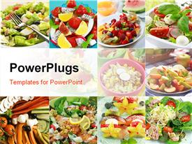 PowerPoint template displaying collage of Different delicious vegetable and fruit salads in the background.