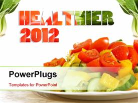 PowerPoint template displaying healthy vegetarian salad