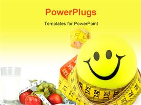 PowerPoint template displaying a happy sign with a yellowish background
