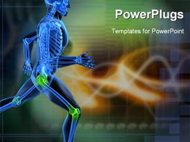PowerPoint template displaying a running skeleton with highlighted joints