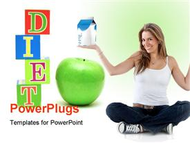 PowerPoint template displaying beautiful woman smiling with green apple and healthy diet