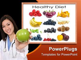 PowerPoint template displaying a smiling lady holding an apple and some fruits at the back