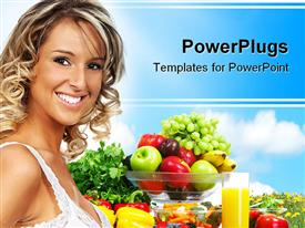 PowerPoint template displaying young blond smiling woman standing next to bowl with mix of fresh fruits and glass of juice, vegetables and fruits for healthy diet