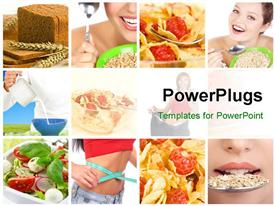 PowerPoint template displaying collage of lady with healthy eating habits and diet